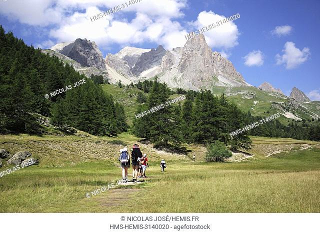 France, Hautes Alpes, Nevache, valley of La Claree, view on the Pointe des Cerces (3097m)