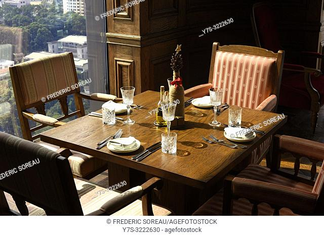 A table at the restaurant of Hotel des Arts Mgallery, Ho Chi Minh City,Vietnam,South East Asia