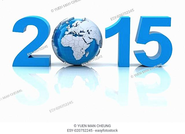 New year 2015 with globe, 3d render