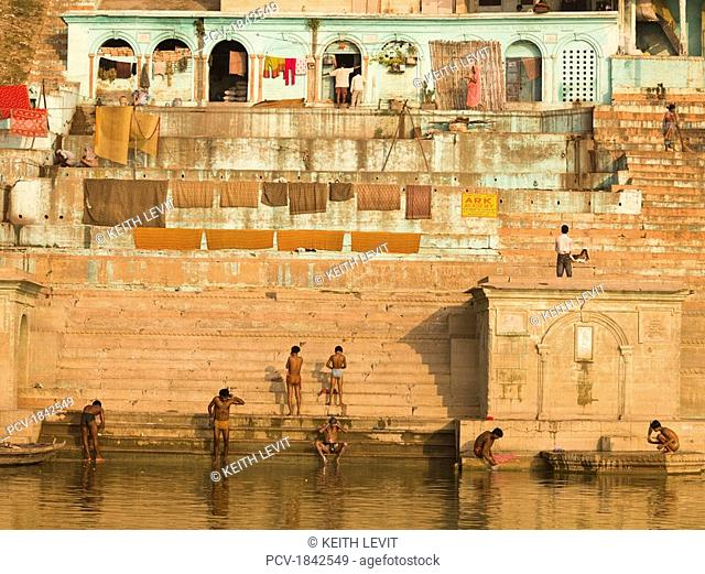 The Ganges,Varanasi,India,People bathing in the river