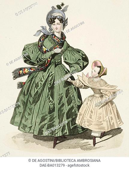 Female sketch and young girl in walking dress and hat, plate 24 taken from French Fashion, Il Corriere delle Dame (Ladies' Courier), 1834