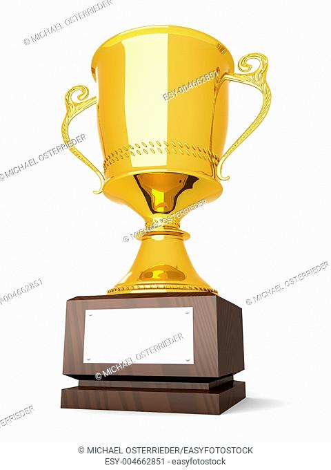 A golden trophy with a blank plate for custom text  3D rendered Illustration  Isolated on white