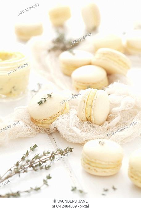 Orange and Thyme Macarons with Fresh Thyme