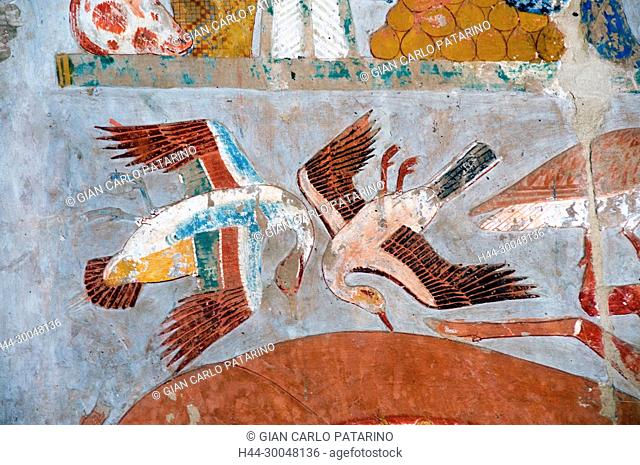 Deir el Bahari, Luxor, Egypt: temple of the queen Hatshepsut (New Kingdom 1567-1080 b.C.) at Deir el Bahari called Djeser-Djeseru: peintures in a chapel