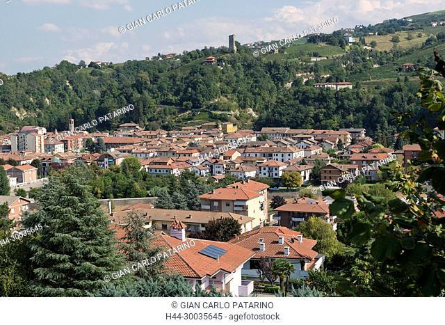 Italy, panorama of vineyards of Piedmont Langhe-Roero and Monferrato on the World Heritage List UNESCO. Panorama of Santo Stefano Belbo Italy, Piedmont