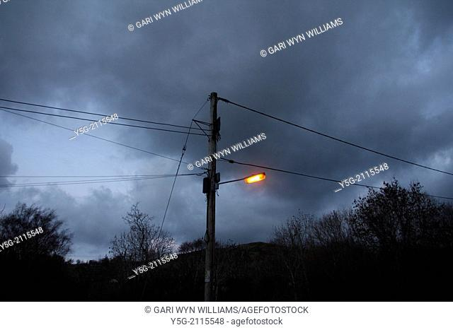 street light at night in wales great britain uk