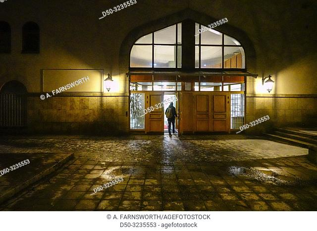 Stockholm, Sweden A man enters the Stockholm Mosque on Södermalm