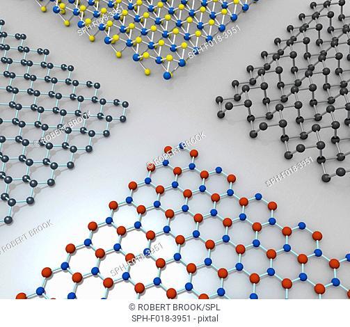 Molecular models of boron nitride (bottom), stanene (left), transition metal dichalcogenide monolayer (top), and phosphorene (right)