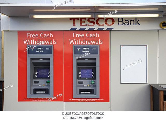 tesco bank cash machines outside tesco store Belfast Northern Ireland UK