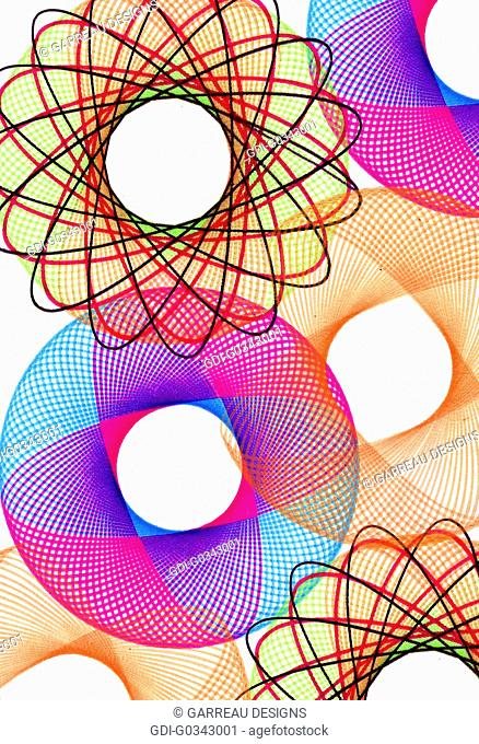 Colorful ornate scrolled circle design on white background