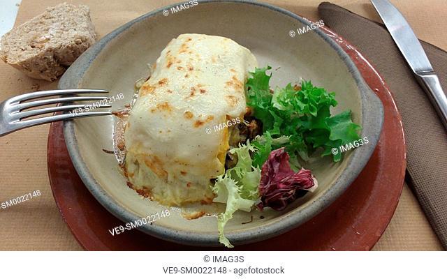 Lasagna in a vegetarian restaurant, Valladolid, Castile and Leon, Spain