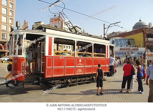 Tramway at Taksim Square, at the end of  Istiklal Caddesi, Istanbul, Turkey