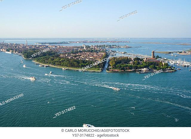 Aerial view of Venice with Sant'Elena island in the foreground, Venice Lagoon, Italy, Europe