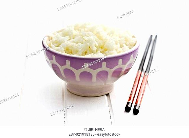 ceramic bowl with jasmine rice