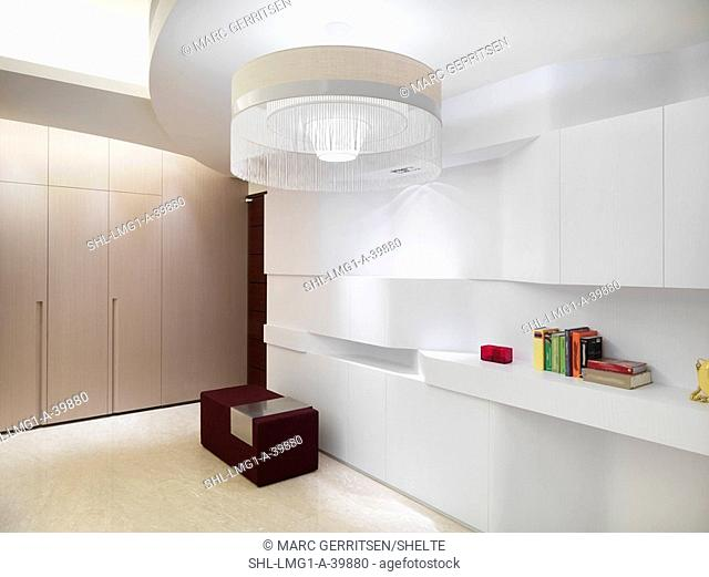 Modern interior with book shelves and circular chandelier