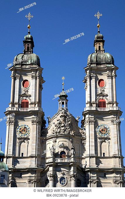 Towers of the Collegiate Church of St. Gallen, cathedral, UNESCO World Heritage Site, St. Gallen, Canton of St. Gallen, Switzerland