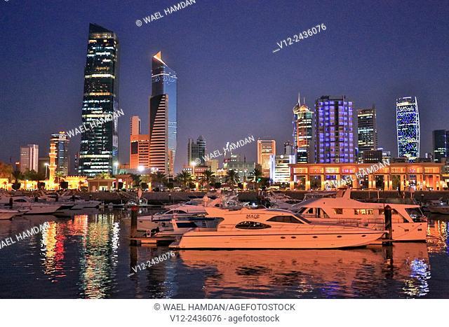 Kuwait, Kuwait City, skyline, skyscrapers, Souk Sharq Marina