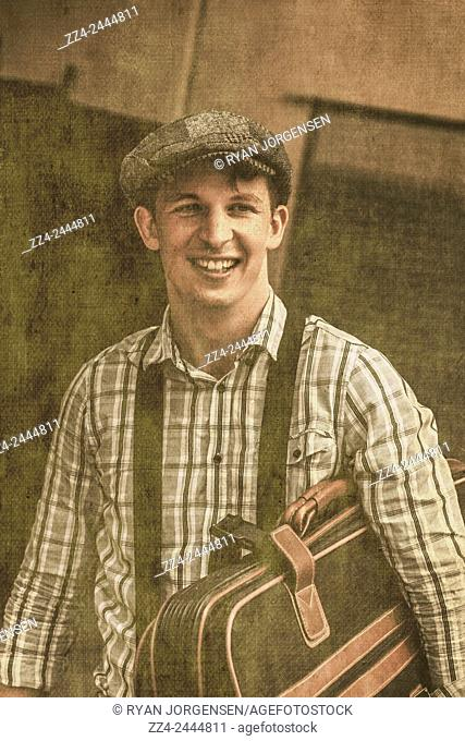 Happy retro man smiling with travelling bag under arm when on an old-fashioned summer break. Image with antique texture
