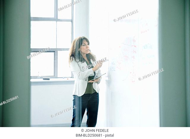 Caucasian businesswoman holding digital tablet and writing on whiteboard