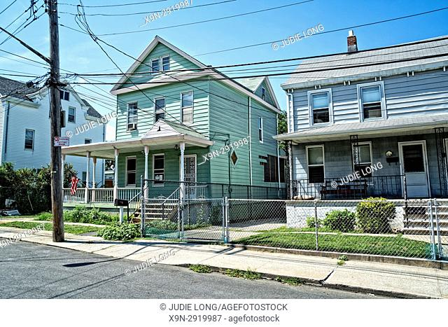 Bronx, New York, City Island. Typical Wood Frame Homes on a Side Street,