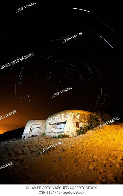Old abandoned military bunker, with a starry sky