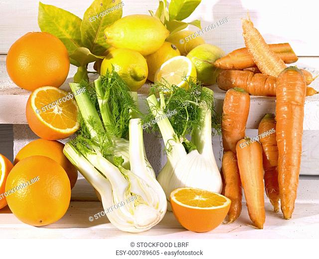 Fruit and vegetables rich in vitamins A, C and E antioxidants