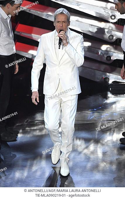 Singer Claudio Baglioni during 69th Festival of the Italian Song, Sanremo final evening. Sanremo, Italy 09 Febr 2019