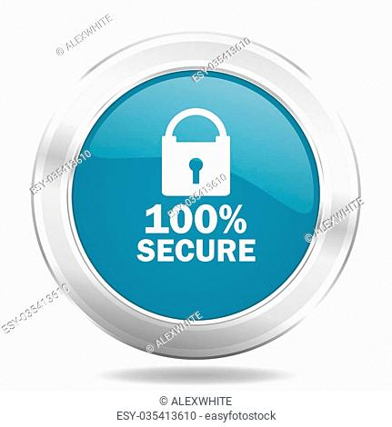 secure icon, blue round metallic glossy button, web and mobile app design illustration
