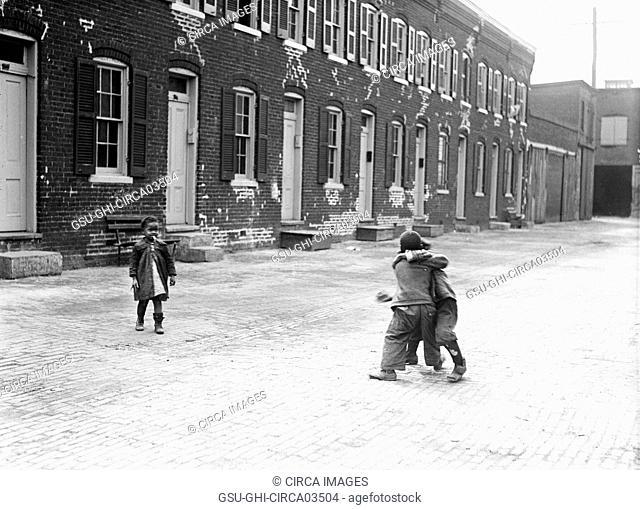 Children Playing in Street, Washington DC, USA, Harris & Ewing, 1923
