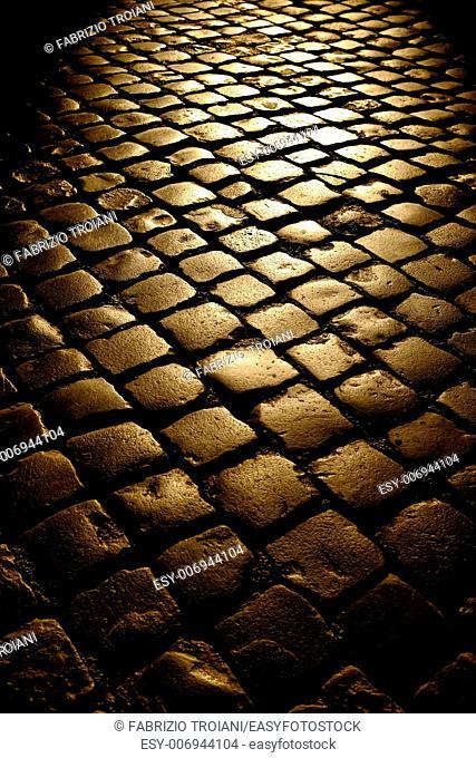 Roman sampietrini at sunset, Rome Italy
