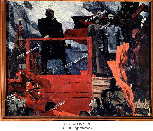 October in 1918. Brusilovsky, Mikhail Shaevich (*1931). Oil on canvas. Soviet Art. State Art Gallery, Perm. 79x100. Painting