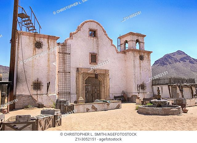 The old Mission used in many movies at the Old Tucson Film Studios amusement park in Arizona