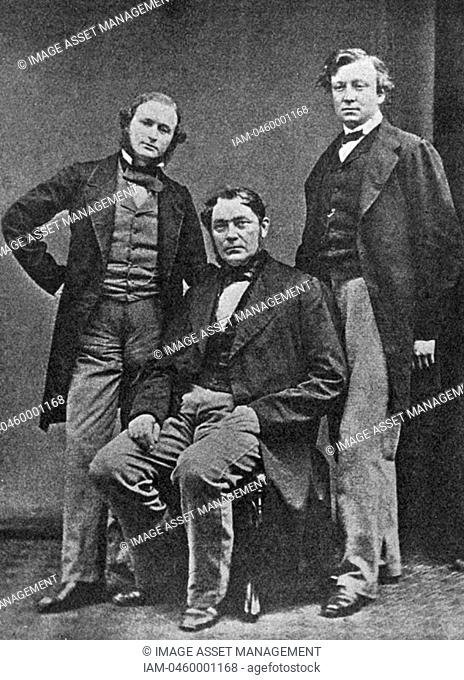From left to right, chemists and physicists: Kirchhoff, von Bunsen and Roscoe c1860  1910  Gustave Robert Kirchhoff, German physicist 1824-1887