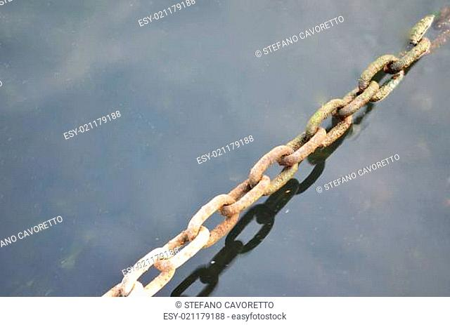 Metal chain under water with copy space
