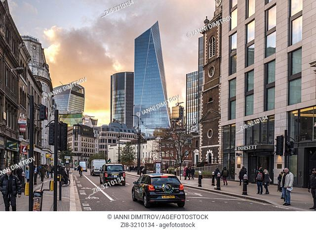 England, London, Aldgate high Street with view of the Financial Centre The city of London