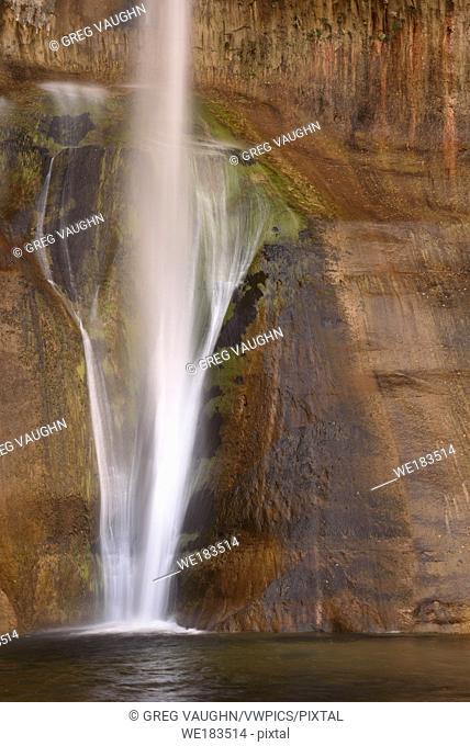 Lower Calf Creek Falls drops down a sandstone rock face in Grand Staircase - Escalante National Monument, Utah