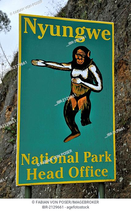 Sign at the entrance to the Nyungwe National Park, Rwanda, Africa