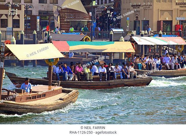 Ferries on Dubai Creek, Dubai, United Arab Emirates, Middle East