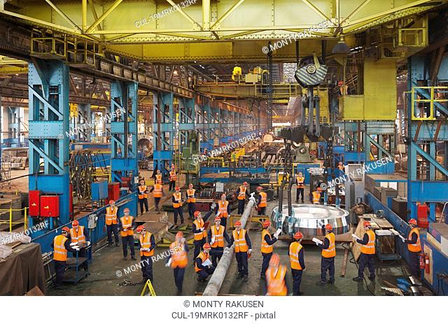 Steel Engineers Working In Plant