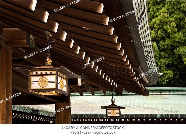 Hanging lanterns and roof details at Meiji Shrine in Tokyo, Japan