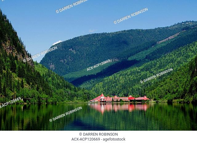 Historic hotel overlooking lake, Three Valley Gap, near Reveltoke, British Columbia, Canada