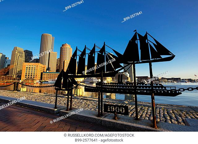 Historic Ship Sculptures Fan Pier Harborwalk Rowes Wharf Downtown Skyline Inner Harbor South Boston Massachusetts Usa