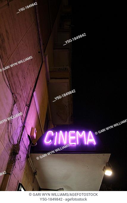 neon cinema sign in rome italy