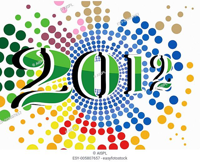 vector colorful dotted background with 2012