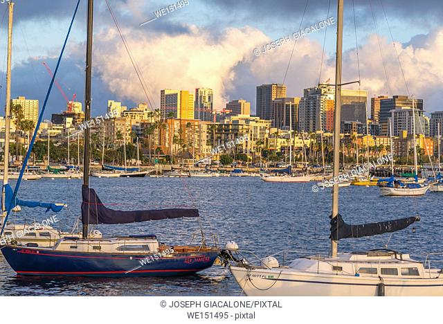 View of San Diego Harbor, skyline, and boats on a winter afternoon. San Diego, California