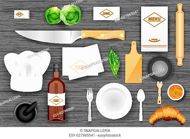 easy to edit vector illustration of identity branding mockup for chef