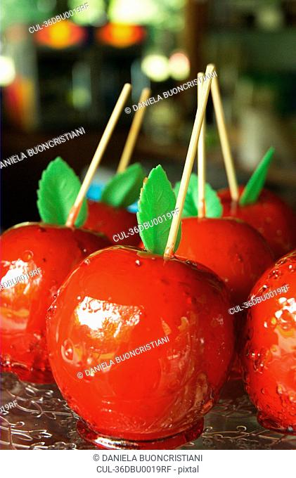 Close up of candy apples