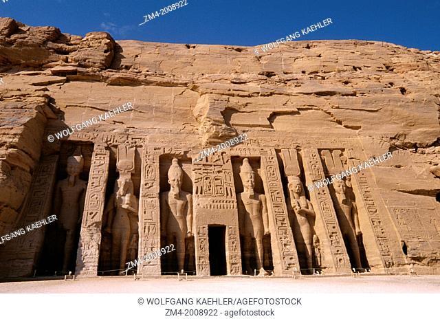 EGYPT, ABU SIMBEL, SMALL TEMPLE OF ABU SIMBEL, FACADE, RAMSES II AND NEFERTARI-HATHOR