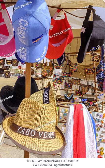 Selection of sun hats for sale at a stall for souvenirs, Santa Maria, Cape Verde, Africa