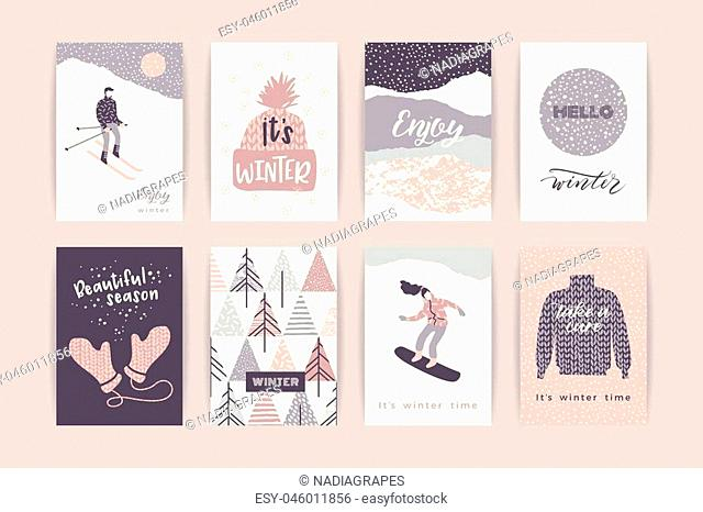 Set of artistic creative winter cards. Hand Drawn textures. Design for poster, card, invitation, placard, brochure, flyer. Vector templates